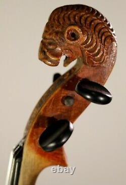 150+ years OLD LION HEAD ANTIQUE BOHEMIAN VIOLIN, Listen to VIDEO