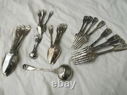 1827stunning 23 piece silver flatware set Fiddle thread shell husk pattern 1500g