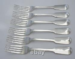 6 x 8 solid sterling silver table forks, Mary Chawner, London 1836, 205mm, 457g
