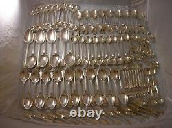 AMAZING 1962 FIDDLE THREAD SILVER CANTEEN CUTLERY 11062 grams 18 Place Setting