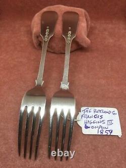 A Superb Matching Pair S/Silver Fiddle Pat. Dessert Forks F. Higgins London 1859