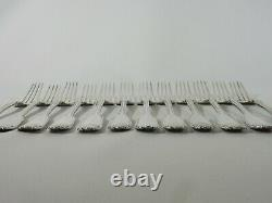 Antique 1898 Set of 12 Sterling Silver Large Entree Forks Fiddle Thread & Shell