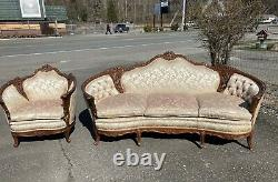 Antique 1920s French Sofa & Chair Carved Victorian Birds Violin Silk Bombay Rose