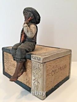 Antique Austrian Tobacco Jar Sgnd, Jm #8849 Boy With Violin