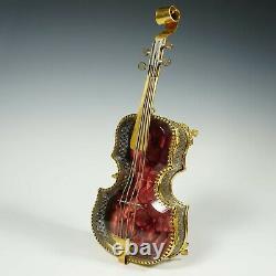 Antique French Beveled Glass Jewelry Box Violin Gilt Ormolu Display Vitrine Case