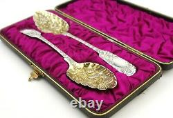 Antique Georgian Sterling Silver Berry Spoons Pair Cased Fiddle Pattern