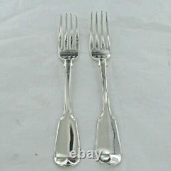 Antique Sterling Silver, Pair Of Fiddle Back Dinner Forks London 1854