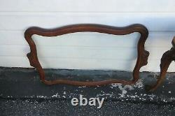 Early 1900s Hand Carved Violin Inlay Coffee Table with Serving Glass Tray 1772