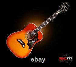 Epiphone Dove Studio Acoustic Electric Guitar Violin Burst Pro-SCM setup