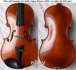 Fine Old German 3/4 Violin Koerner 1986 Video Rare Antique 177