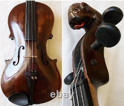 Fine Old Lionhead Violin Video Antique Rare Lion Head 292