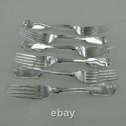 Good Antique Sterling Silver Set Of Six Fiddle Back Dinner Forks London 1869