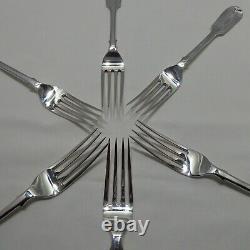 Good Antique Sterling Silver Set Of Six Fiddle Back Dinner Forks London 1932