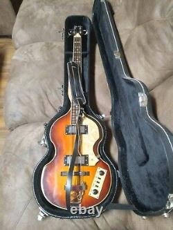Jay Turser JTB-2B Electric Bass Guitar, Vintage Sunburst Violin Beatle Bass