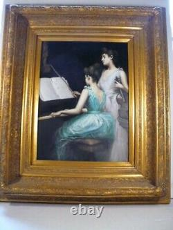 Original Oil Painting Girls at Piano with Violin on Canvas Hand Painted Framed