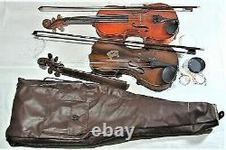 Pair Two Rare Beautiful Antique Vintage Violins For Restoration And Repair