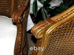 Pair of Vintage Muted Gilded Cane Caned Bergere chairs with Musical Violin crest
