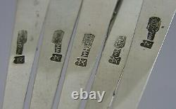 RARE 5 SOLID SILVER CHINESE EXPORT SILVER CAKE FORKS WANG HING 95g ANTIQUE