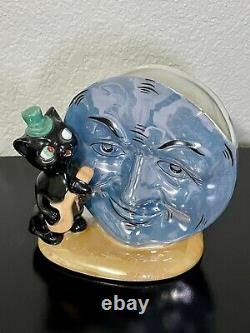 RARE Anthropomorphic Lustre Man Moon Black Cat Hat Fiddle Planter Vase Germany