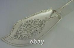 Rare Double Crest Wildman Tracy Families Solid Sterling Silver Fish Slice 1833