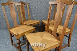 Set of Six Vintage French Country Fiddle Back Tiger Oak Rush Seat Dining Chairs