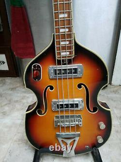 VINTAGE Silvertone 1961 Scroll Head violin shaped hollow body Bass guitar-MIJ