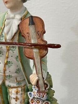 Vintage Antique German Sitzendorf Porcelain Figurine Man with Violin & Dog