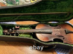 Vintage Antique Old Violin for Parts or Restoration With Case And Bow. Unbranded