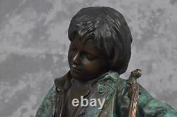 Vintage Leon Tharel Idle Fiddle Boy Asleep With Fiddle Bronze Sculpture Figure