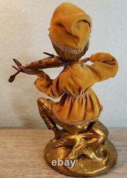 Vintage Mid Century Pixie Elf Playing Violin Figures Signed Rare