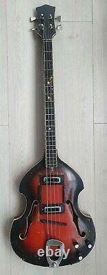 Vintage electric violin bass guitar Kremona Bulgaria 70s Hofner form