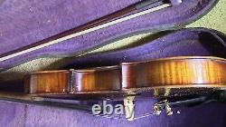 Violin 4/4 old fiddle antique vintage used case and bow