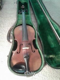 Violin, used, 4/4, fiddle, old, antique, vintage, Beautiful inlaid back