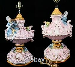 Vtg Antique Capodimonte Porcelain Table Lamp with Shade French Provincial Violin