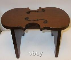 Vtg VIOLIN STOOL BENCH Table Carved Wood MUSIC Library String Instrument