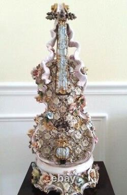 28 Antique Vintage Capodimonte Fabriqué En Italie Magnifique Violon Énorme Masterpiece
