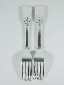 Ancienne Géorgienne 1836 Paire Sterling Silver Fiddle Back Fourches Entree Mary Chawner