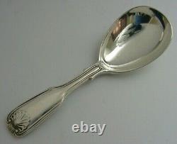 Anglais Argent Sterling Fil De Fiddle Et Shell Caddy Spoon 1901 Antique