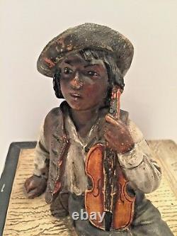 Antique Austrian Tobacco Jar Sgnd, Jm #8849 Garçon Avec Violon