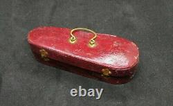 Antique Dresde Victorian Christmas Ornament Miniature Violin And Bow In Case