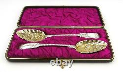 Antique Georgian Sterling Argent Spoons Paire Cased Fiddle Pattern