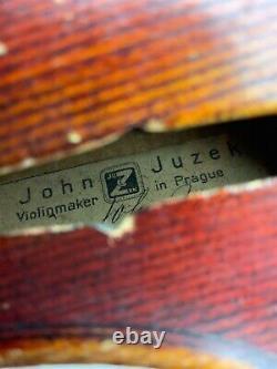 Antique Millésime John Juzek Violon D'avant-guerre En 1937 Avec Cas Prague Tchécoslovaquie
