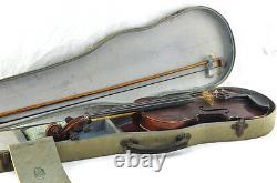 Antique Stradivarius Copie Violon Avec Cas 3/4 Vieux Vtg