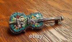 Antique Violon Italie Micro Mosaic Sterling Silver Pin Brooch