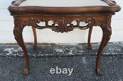 Au Début Des Années 1900, Table De Café En Inlay De Violon Sculpté À La Main Avec Plateau De Verre De Service 1772