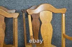 Ensemble De Six Chaises À Manger Vintage Français Country Fiddle Back Tiger Oak Rush Seat