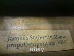 Étiquette Jacobus Stainer Inside Vintage Antique Old Violin Full Size