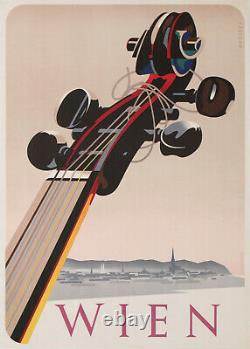 Fabigan Wien Violon Waltz Musique Autriche Ostereich Vintage Poster