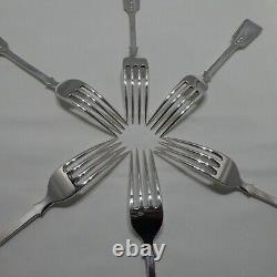 Good Antique Sterling Silver Set Of Six Fiddle Back Dinner Forks Londres 1932