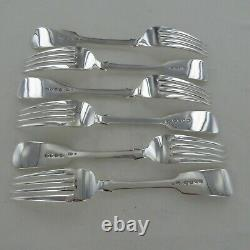 Good Antique Sterling Silver Set Of Six Fiddle Back Dinner Fourches Londres 1869
